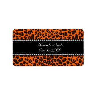 Orange leopard print wedding favors address label