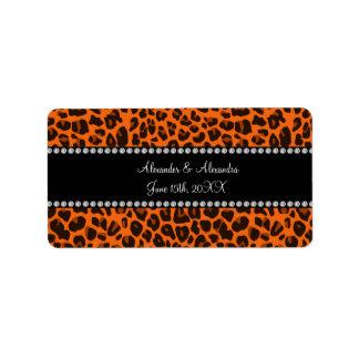 Orange leopard print wedding favors address label
