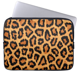 Orange leopard skin print computer sleeve