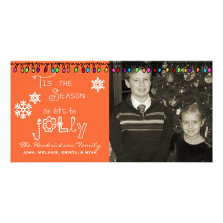 Orange Let's Be Jolly Christmas Holiday Photo Card