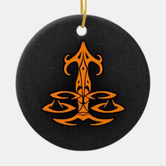 Orange Libra Double-Sided Ceramic Round Christmas Ornament