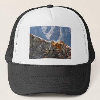 Orange lichens growing on rock face trucker hat