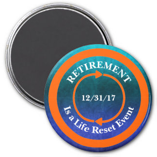 Orange Life Reset Icon Retirement Date Magnet
