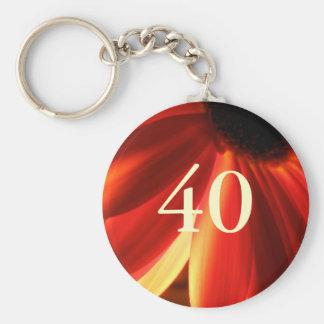 Orange Lights Flower 40th Birthday Gift Key Ring