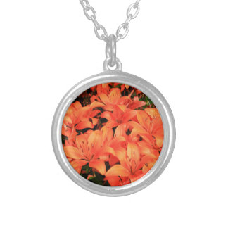 Orange liliums in bloom silver plated necklace