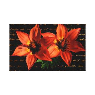 Orange lily flower artistic design canvas print