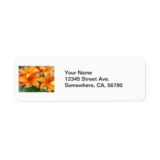 Orange Lily Flowers Return Address Label