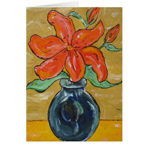 Orange Lily Painting Blank Card