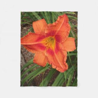 Orange Lily Throw Fleece Blanket