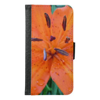 Orange Lily with water drops Samsung Galaxy S6 Wallet Case
