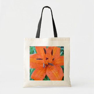 Orange Lily with water drops Tote Bag