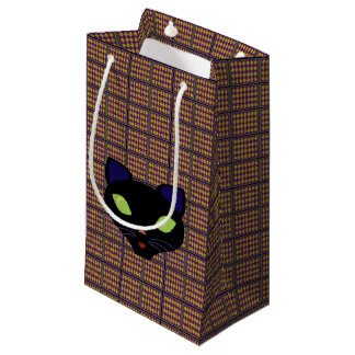 Orange Lime Harlequin Pattern Small Gift Bag