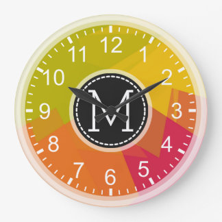 Orange Lime Yellow Mosaic Modern Monogram Large Clock