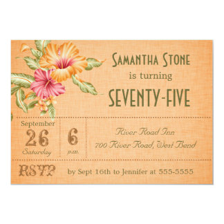 Orange Linen Floral Customized Birthday Invitation