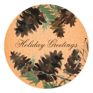 "Orange Linen Pine Cones Christmas Greeting Card 5.25"" Square Invitation Card"