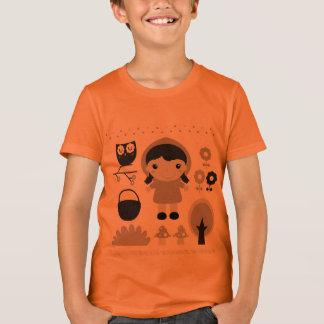 Orange little boy Tshirt with Fairytale art