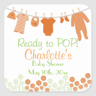 Orange Little Clothes Ready To POP Baby Shower Square Sticker
