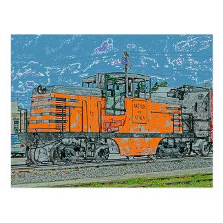 Orange Locomotive Postcard
