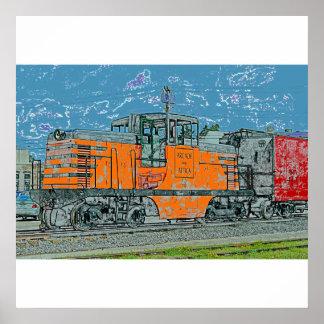 Orange Locomotive Poster/Print Poster