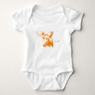 Orange Longhorn Steer with Cowboy Hat Baby Bodysuit