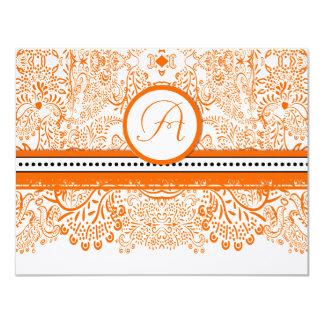 Orange Love Birds Wedding Invitation