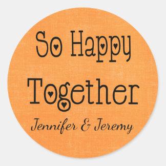 Orange Love Wedding Announcement Engagement Classic Round Sticker