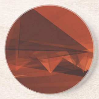 Orange Low Poly Background Design Artistic Pattern Coaster
