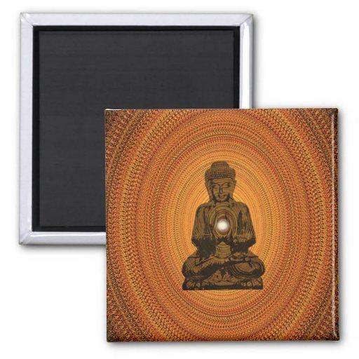 orange mandala for Buddha Fridge Magnet