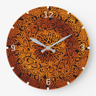 ORANGE  MANDALA LARGE CLOCK