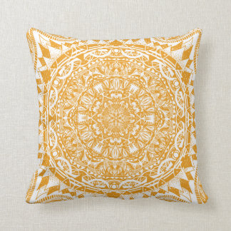 Orange mandala pattern cushion