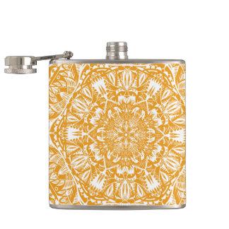 Orange mandala pattern hip flask
