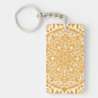 Orange mandala pattern key ring