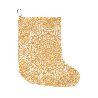 Orange mandala pattern large christmas stocking