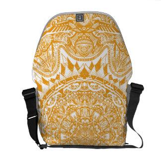 Orange mandala pattern messenger bags