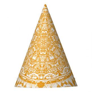Orange mandala pattern party hat