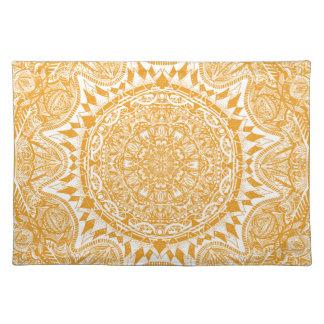 Orange mandala pattern placemat