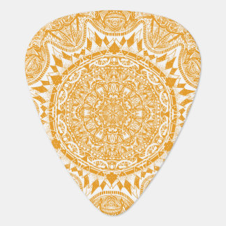 Orange mandala pattern plectrum