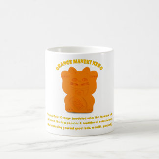 Orange Maneki Neko Both Paws Mug