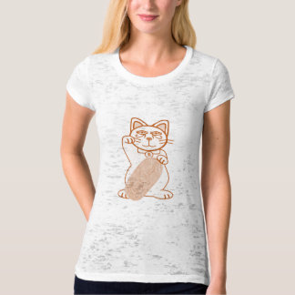 Orange Maneki Neko Sketch Right Paw T-Shirt