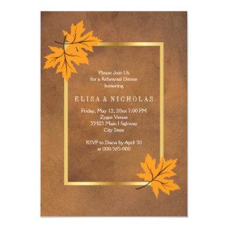 Orange maple leaves brown wedding rehearsal dinner card