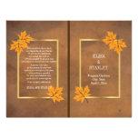 Orange maple leaves on brown wedding program 21.5 cm x 28 cm flyer