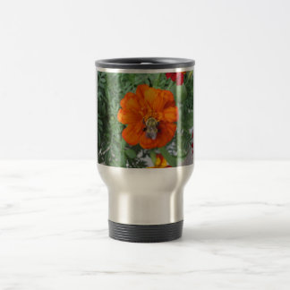 Orange Marigold Bee Flower Travel Mug