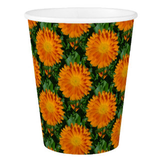 Orange Marigold Close Up With Garden Background Paper Cup