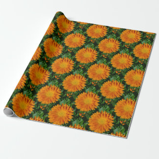 Orange Marigold Close Up With Garden Background Wrapping Paper