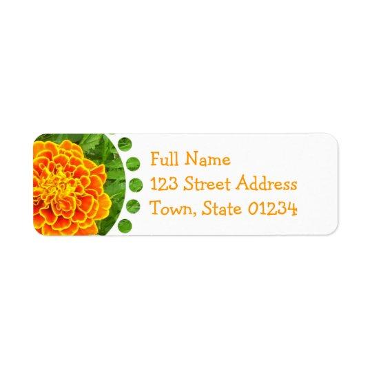 Orange Marigold Mailing Label Return Address Label