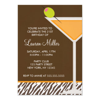 Orange Martini and Zebra Pattern Card