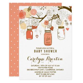Orange Mason Jars   Baby Shower Invitation