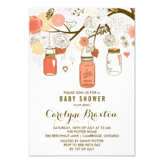 Orange Mason Jars | Baby Shower Invitation
