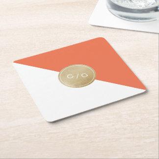 Orange minimalist modern wedding monogram square paper coaster