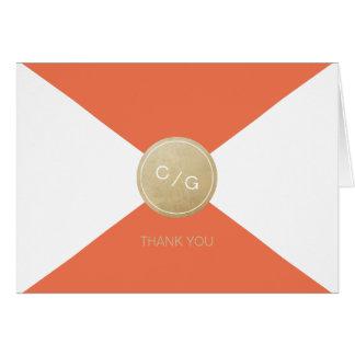 Orange minimalist modern wedding thank you card